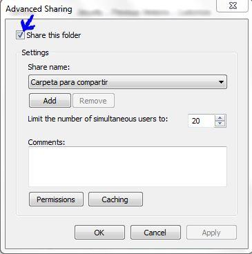 permisos para compartir carpeta